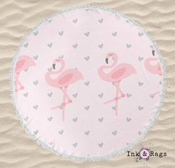 Baby Pink Marching Flamingo Heart Round Beach Towel