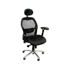 HERMES • Mesh High Back Task Operator Armchair with Adjustable headrest & Chrome Base - Black