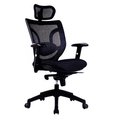 NEWTON • Mesh High Back Executive Armchair with Integral Headrest - Black