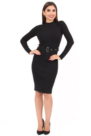 Connie Belted Dress - Black