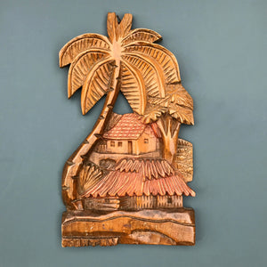 Vintage 'Tiki & Palms' Wall Plaque #2