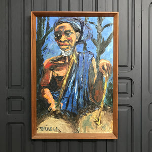 Framed Vintage African Portrait in Oil