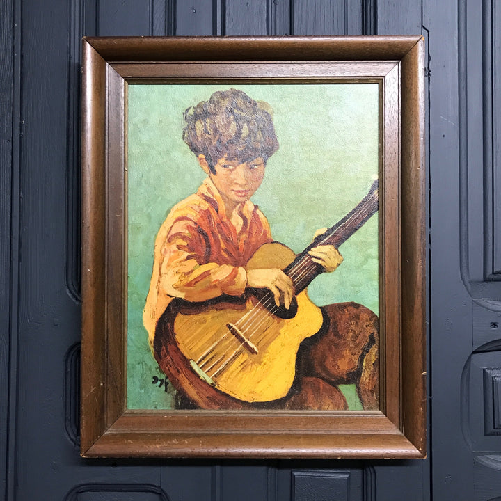 Mid Century 'Guitar Boy' Framed Print