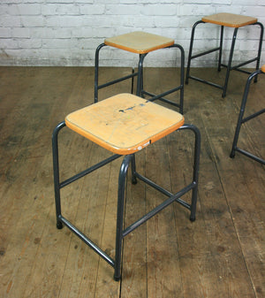Low Beech Vintage Stacking Stools with grey bases x 1 (18 available)