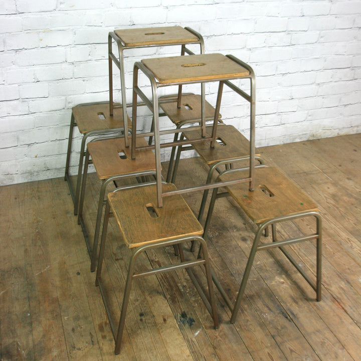 8 Vintage School Laboratory Stacking Stools