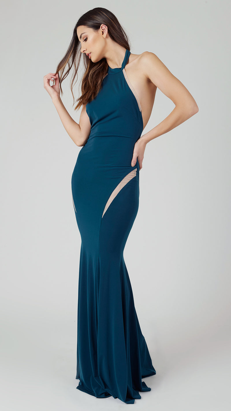 Halter Maxi Dress with Mesh Contrast