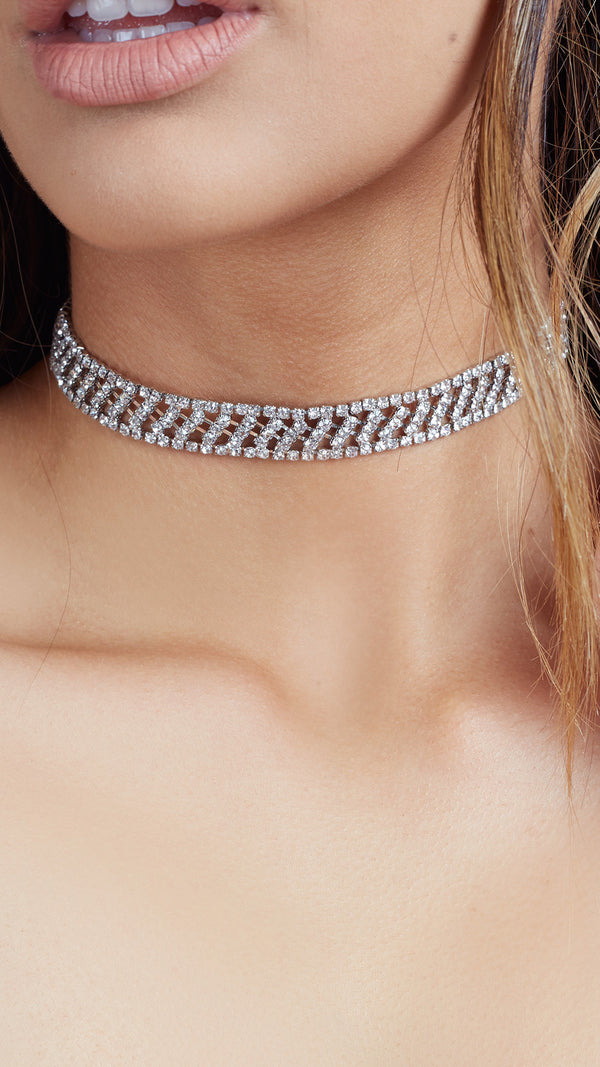 Detailed Rhinestone Choker - Msky