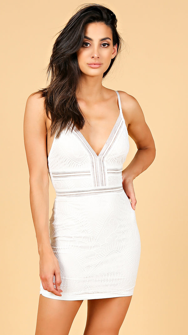 Lace & Mesh Inset Bodycon Dress