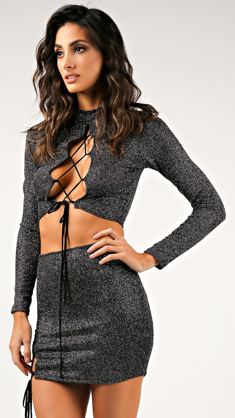 Sexy Lace Up Glitter Two Piece Set