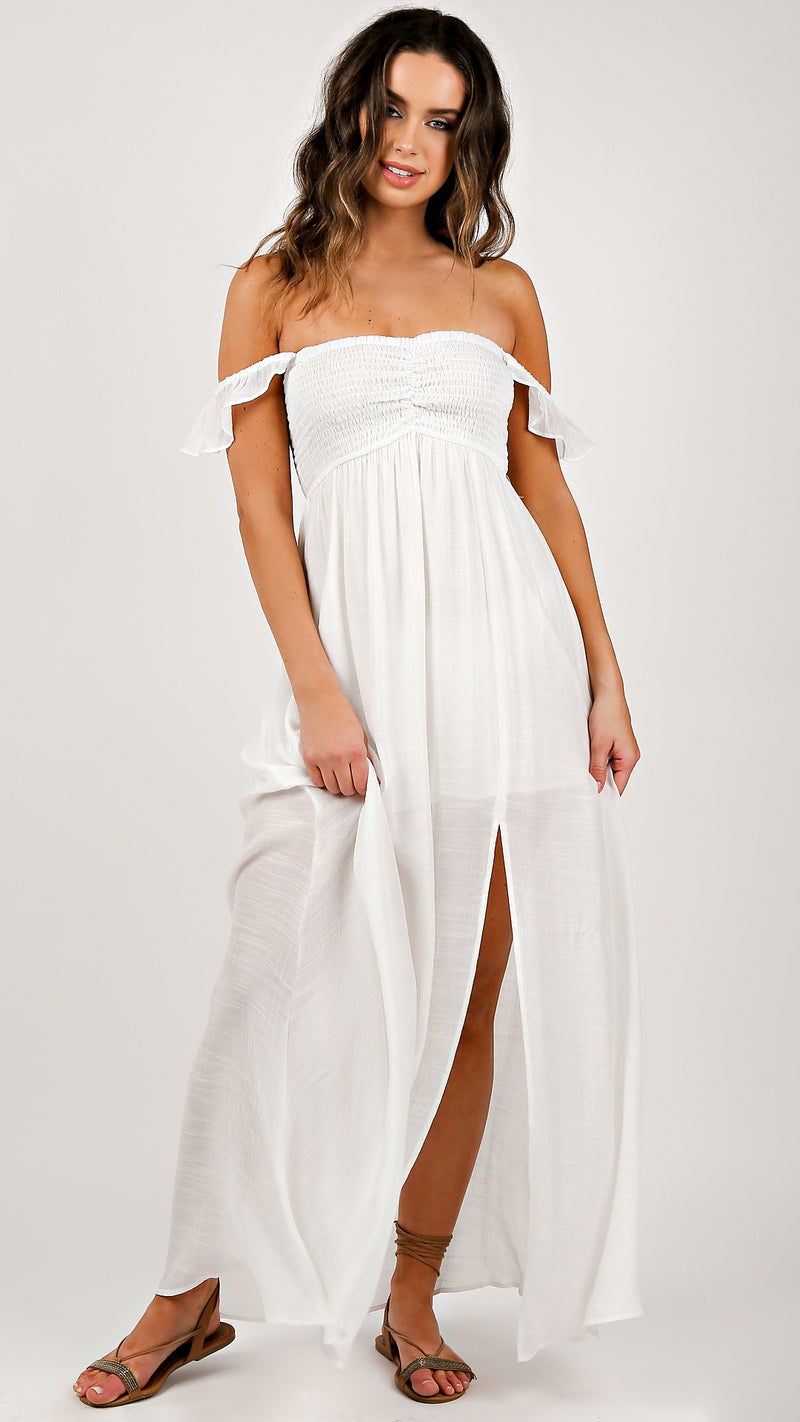 Ruffle Off Shoulder Maxi Dress