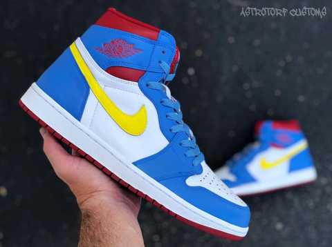 Red, Yellow, and Blue Jordan 1s
