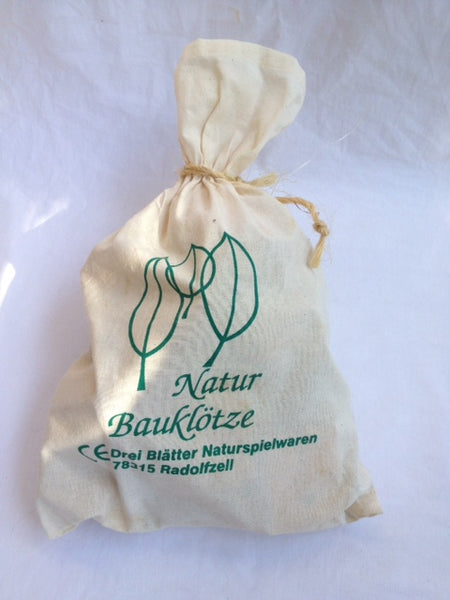 Natural Wooden blocks in a bag