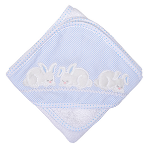 3 Marthas Blue Bunny Hooded Towel and Washcloth Set - Madison-Drake Children's Boutique