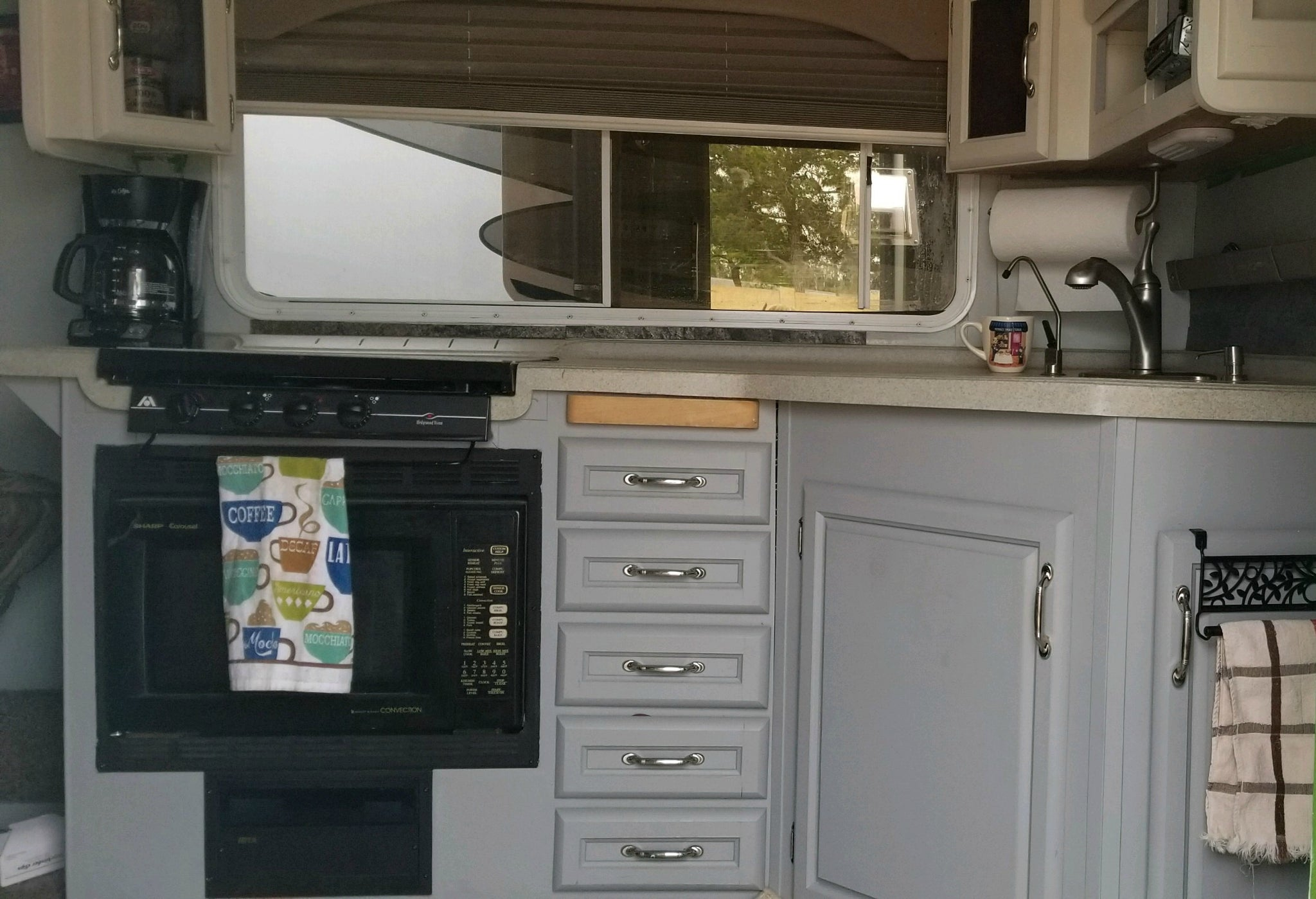 Painted RV Cabinet Before and After
