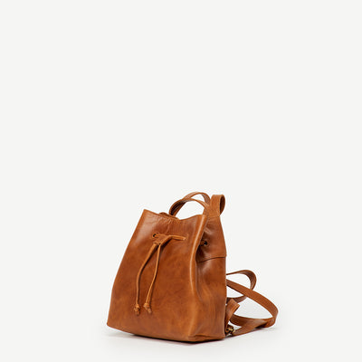 Mini Camel Leather Backpack