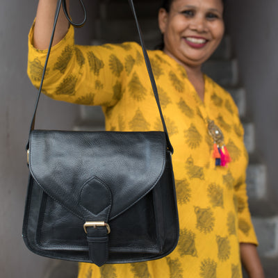 Myra Black Leather Crossbody