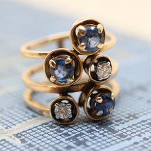 Mid-Century 14K Diamond & Synthetic Sapphire Ring
