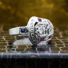 1930s 14k Diamond Ruby and Sapphire Cocktail Ring