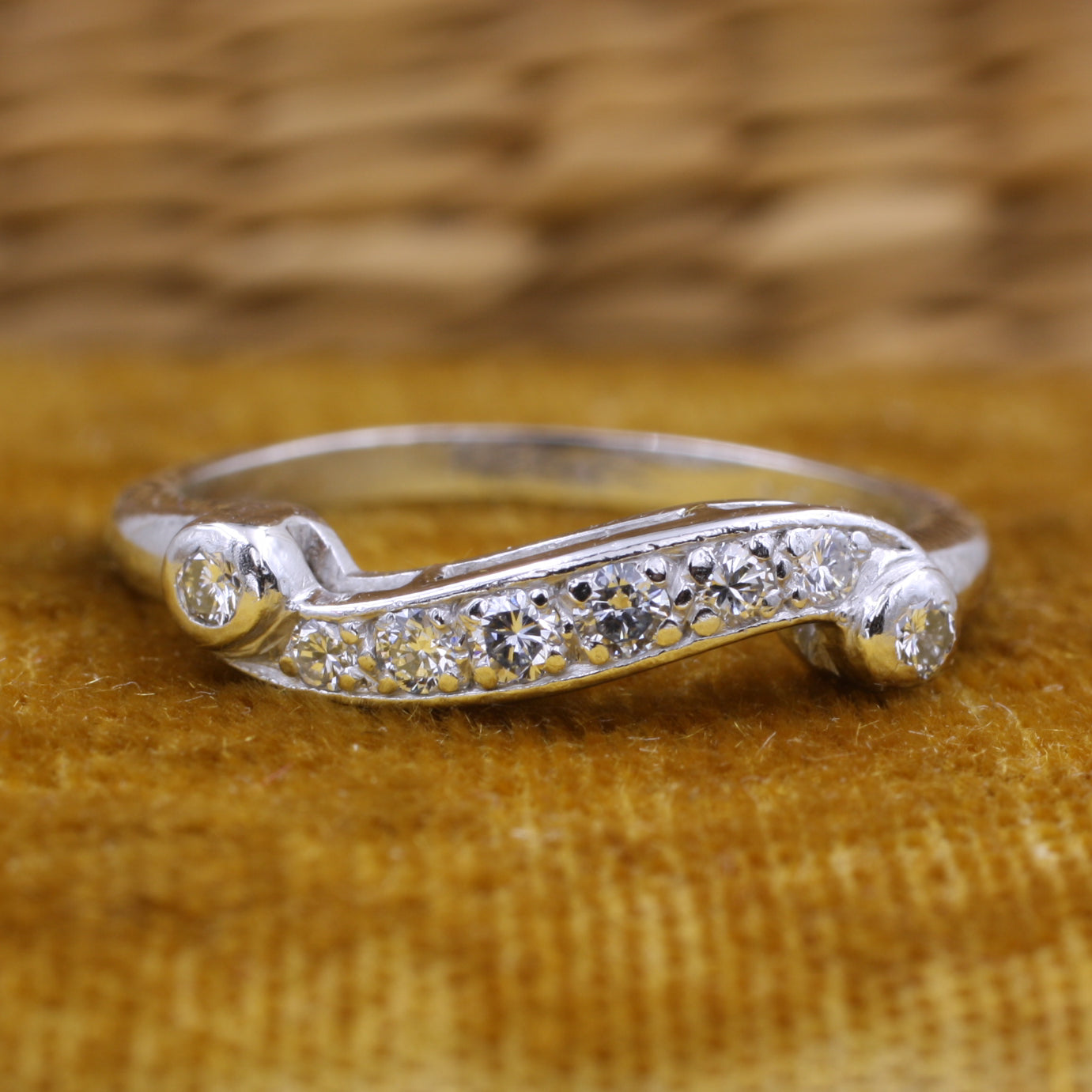 Midcentury Diamond Platinum Flourish Band