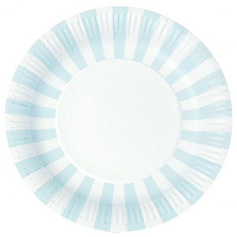 Paper plates - Baby blue and white.