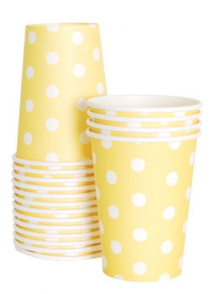 Paper cups - Yellow and white