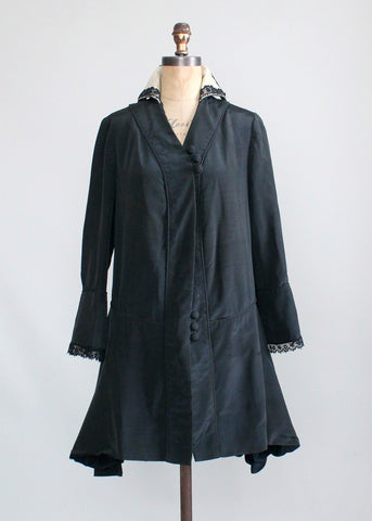 Antique Edwardian Black Silk Coat with Stand Up Collar
