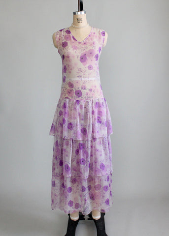1920s Floral Chiffon Flapper Dress
