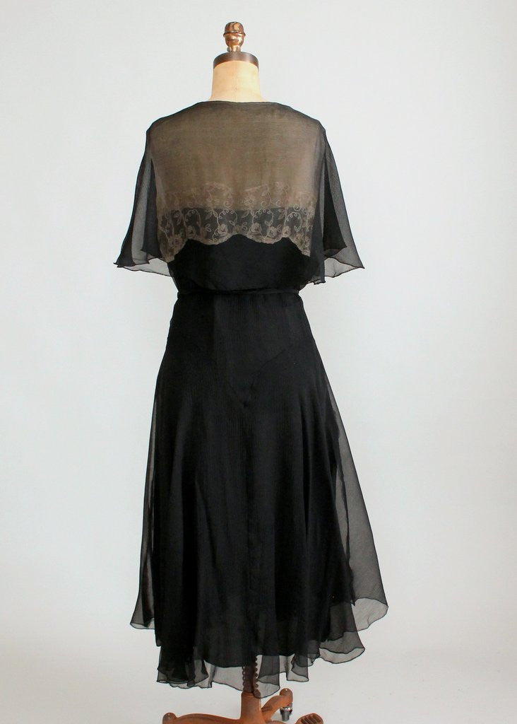 Vintage Early 1930s Black Silk and Nude Lace Dress