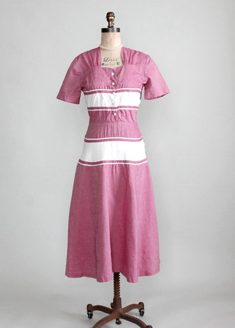 Vintage Late 1940s Raspberry Cream Cotton Day Dress