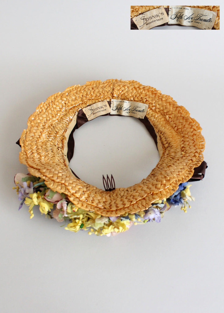 Vintage 1940s Floral Straw Wreath Hat