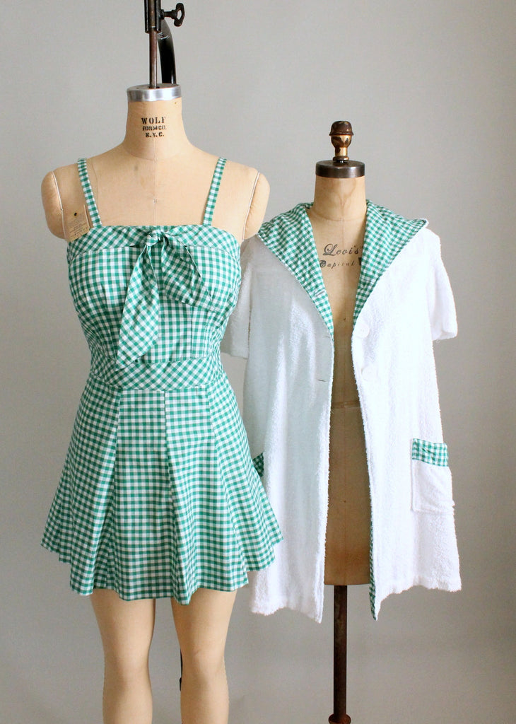 Vintage Late 1940s Gingham Swimsuit with Terrycloth Cover Up