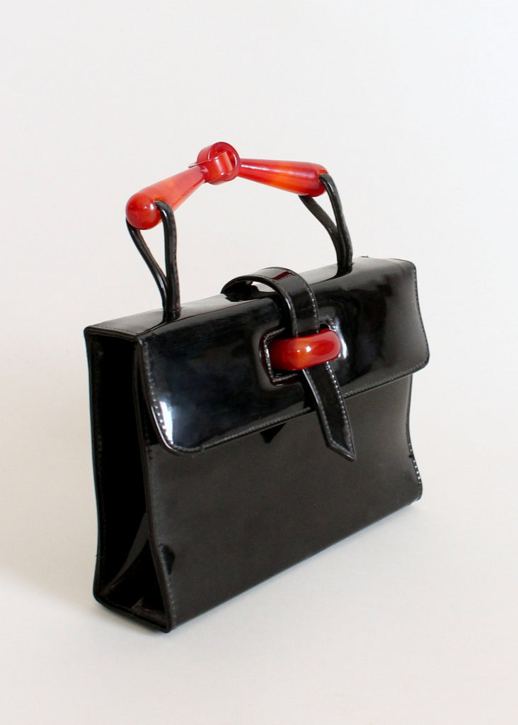 Vintage 1960s Black Patent Leather and Lucite MOD Purse