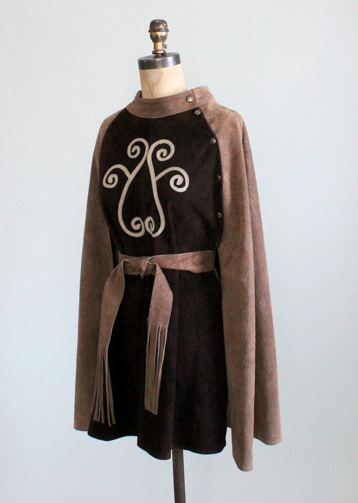 Vintage 1960s Two Tone Brown Suede MOD Cape