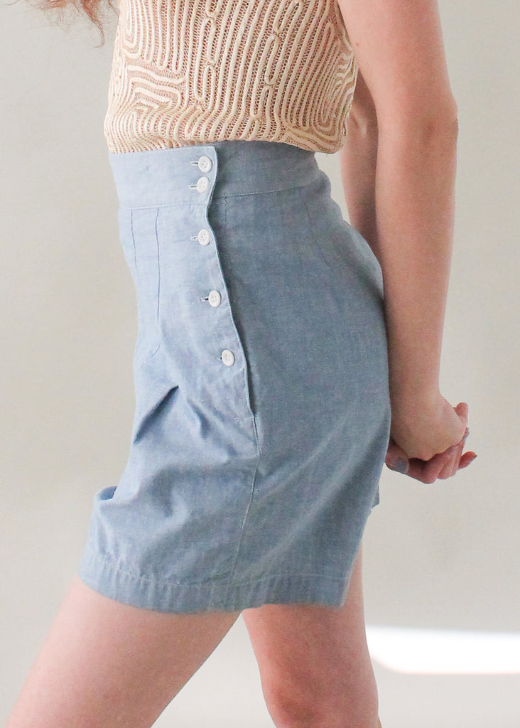 Vintage 1960s Wide Leg Chambray Shorts