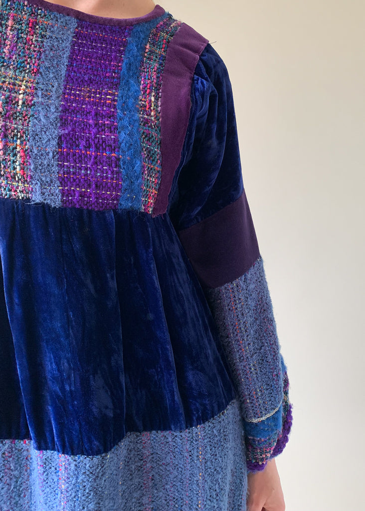 Vintage 1960s Wool and Velvet Patchwork Dress