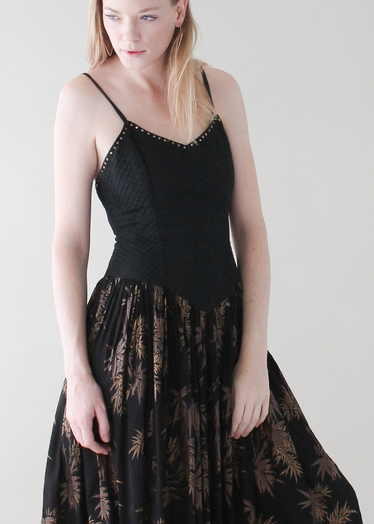 Vintage 1970s Black and Gold Sundress