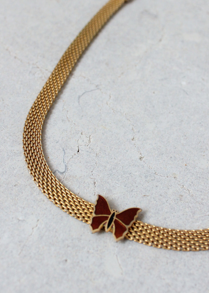 Vintage 1970s Butterfly and Mesh Choker Necklace