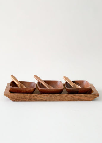 Vintage 1970s Wood Party Serving Set