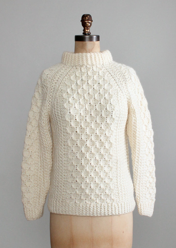 Vintage 1970s Honeycomb Wool Fisherman Sweater