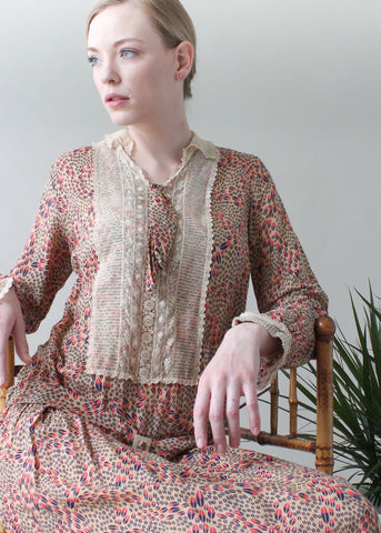 Vintage 1920s Silk Print and Lace Day Dress
