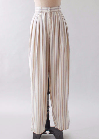 Vintage 1980s Pinstriped Silk Pleated Pants