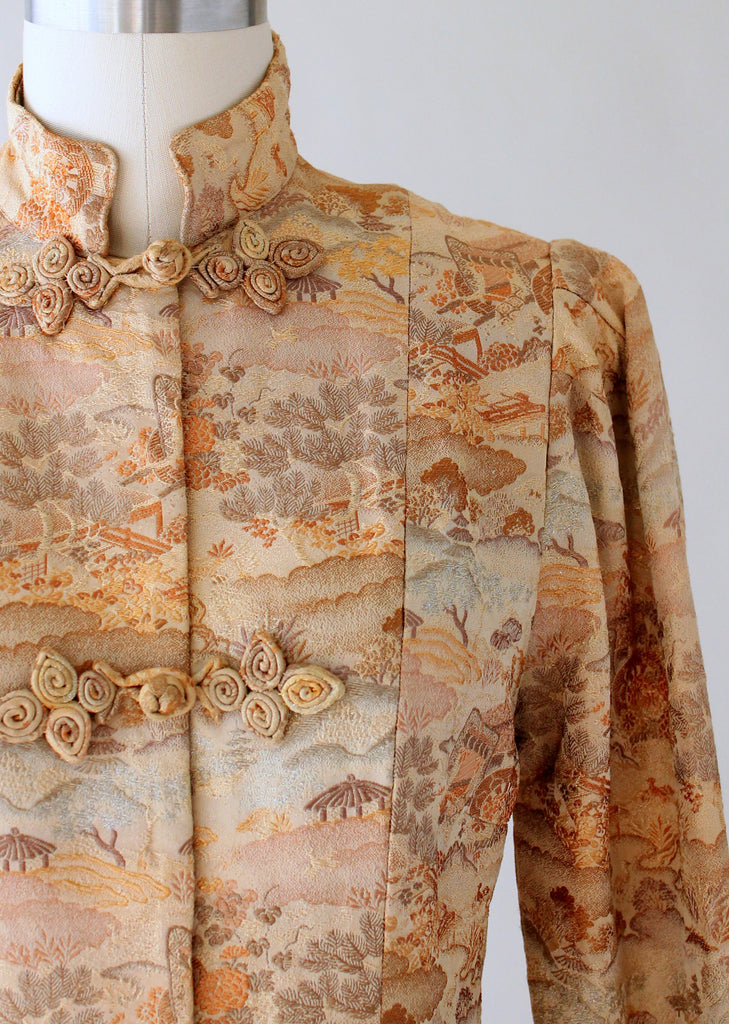 Vintage 1940s Asian Print Gold Brocade Jacket