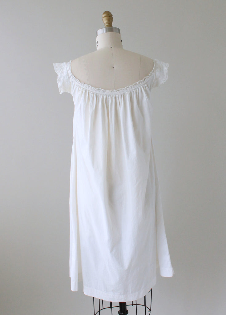 Vintage 1910s White Cotton and Lace Summer Dress