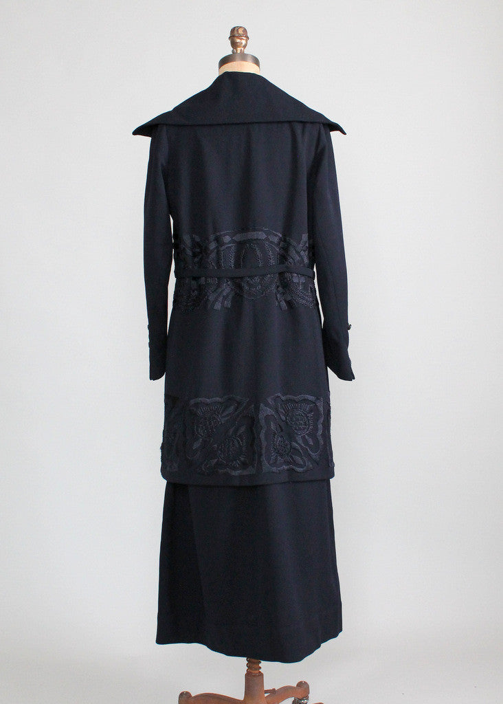 Vintage Early 1920s Navy Wool Walking Suit
