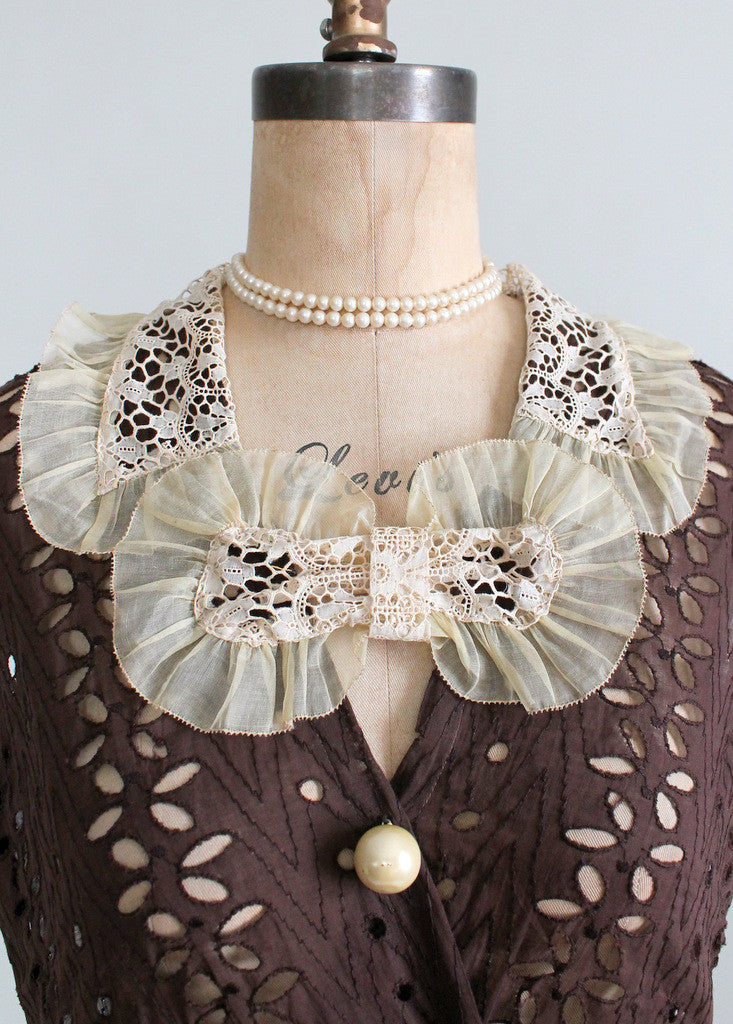 Vintage 1930s Brown Eyelet Day Dress