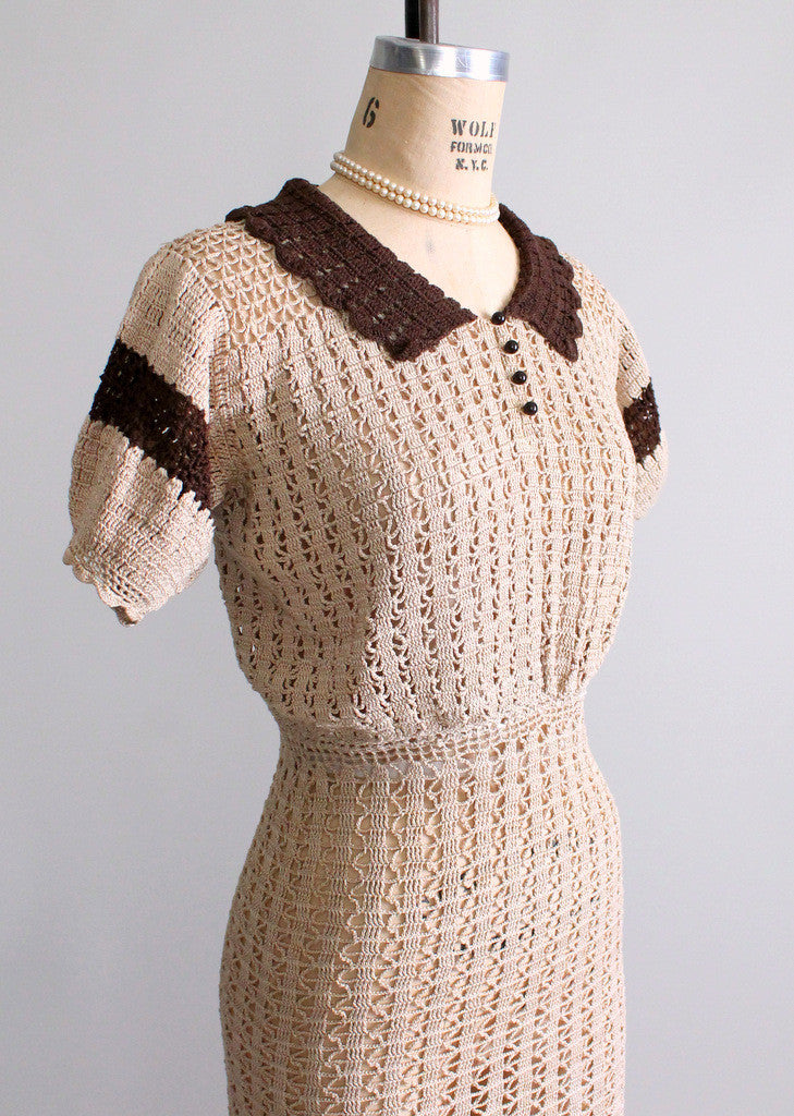 Vintage 1930s Crochet Knit Dress