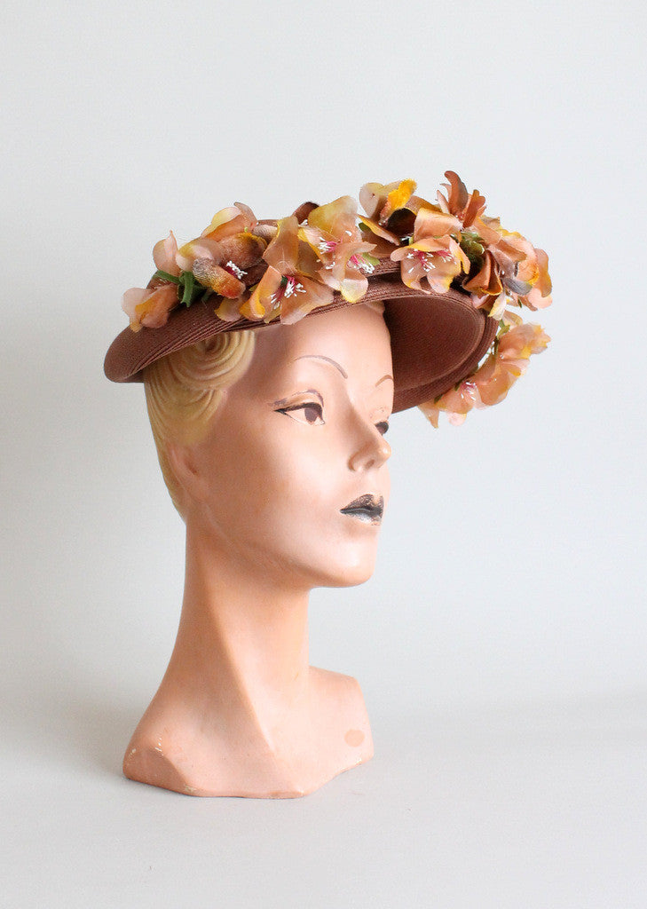Vintage 1940s Casper Davis Straw and Flower Hat