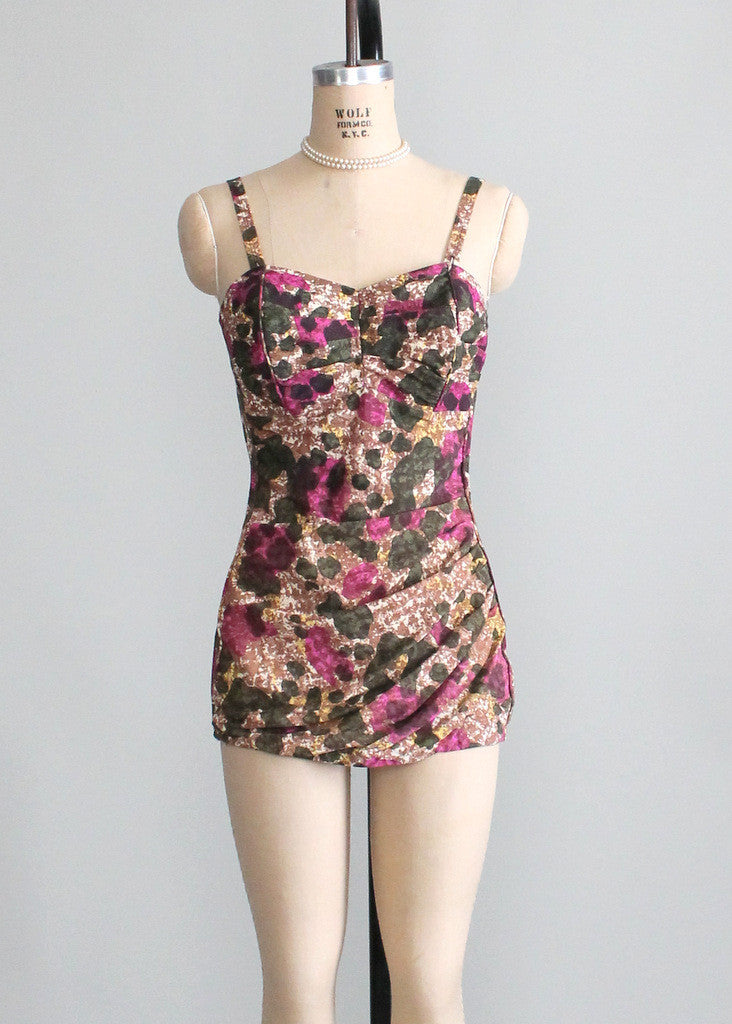 Vintage 1950s Roxanne Floral Pin Up Swimsuit