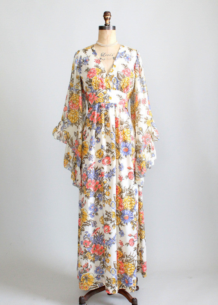 Vintage 1960s Bell Sleeve Floral Festival Maxi Dress