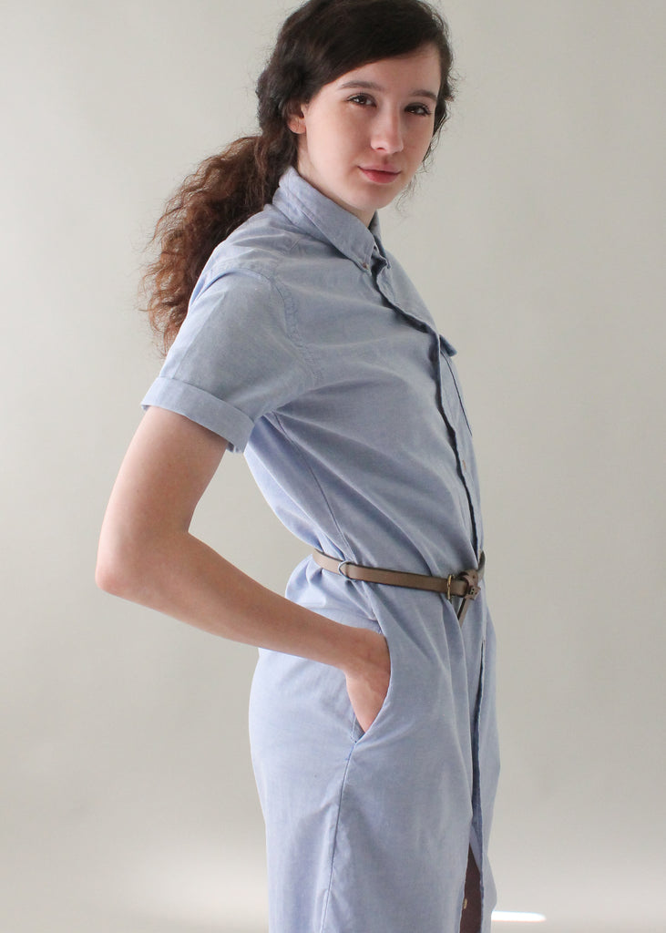 Vintage 1970s Chambray Shirt Dress